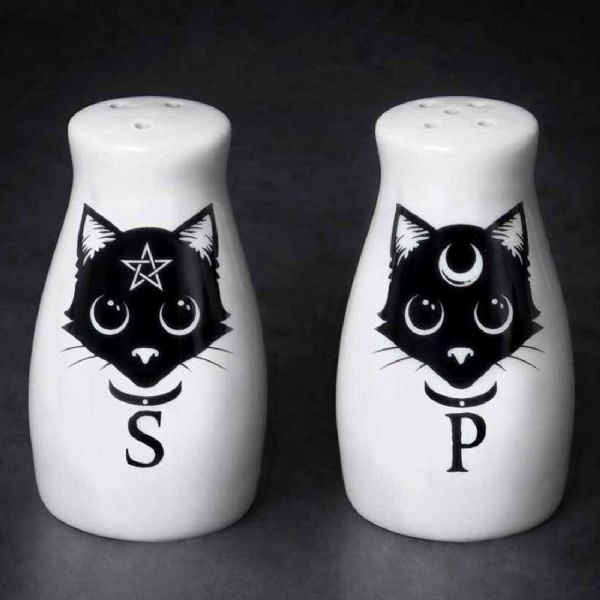 ALCHEMY GOTHIC Witches Cat Salt & Pepper Set
